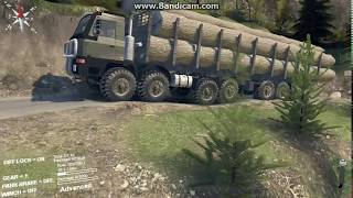 SpinTires TATRA 12x12 Massive Load climbing the Hill Part-2