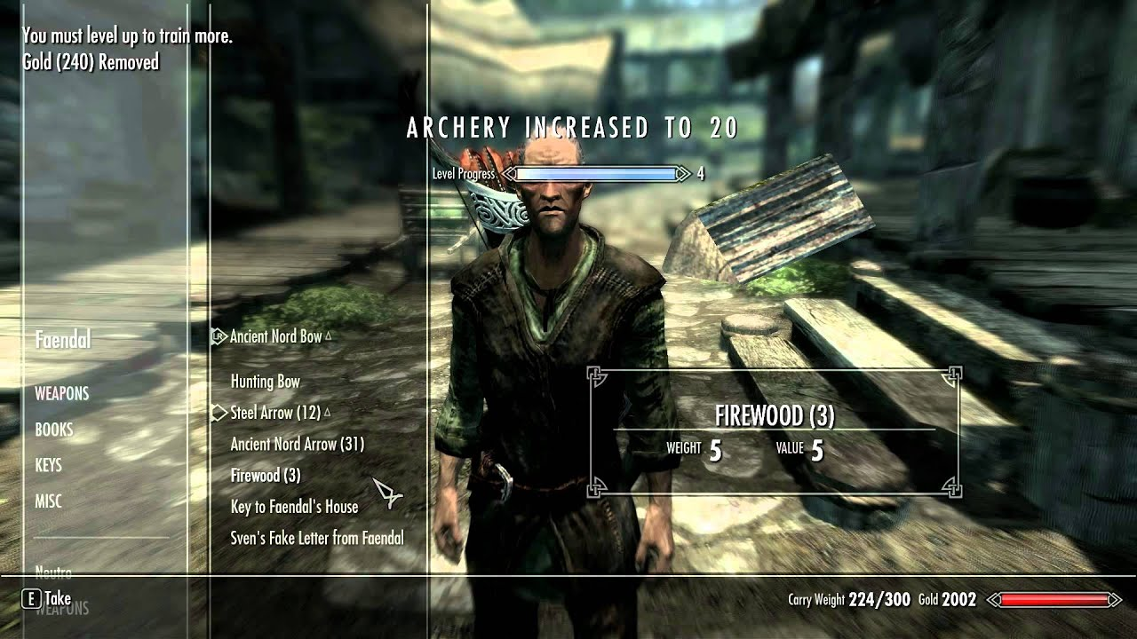 How To Cheat Your Way To Level 50 Archery In Skyrim