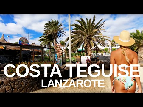 [4K] COSTA TEGUISE (2019) LANZAROTE - Walking tour of Promenade, Bars & Restaurants.