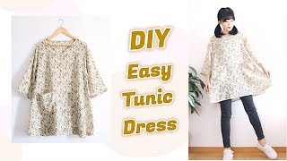 DIY Easy Tunic Dress + HOW TO SEW A DRESS  / 手作り+ファッション / Costura / 옷만들기 / Sewing Tutorialㅣmadebyaya