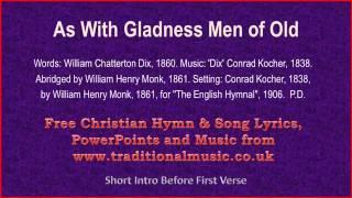 As With Gladness Men Of Old(MP39) - Christmas Carols Lyrics & Music
