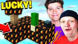 FIRE LUCKY BLOCK SKY WARS! / PrestonPlayz vs UnspeakableGaming - Minecraft Mods