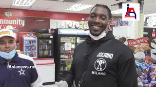 Demarcus Lawrence , Dallas Cowboys appreciating Seago Pantry, serving meals to our first responders.