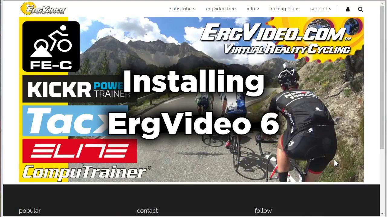 ErgVideo: installing the free virtual reality cycling software