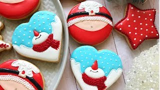 Snowman and Santa (Santa's belly) Cookies 🎅🏻