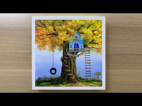 acrylic painting of a house on a tree tutorials by acrylic painting techniques