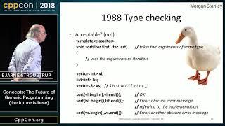 "CppCon 2018: Bjarne Stroustrup ""Concepts: The Future of Generic Programming (the future is here)"""
