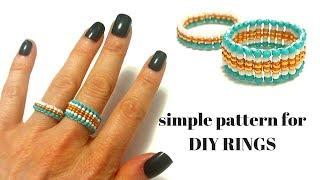 Beaded Rings. Beginner Beaded Pattern For DIY Rings.