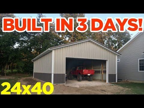 24x40 Pole Barn Garage Build - 3 Days Start to Finish!