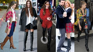 High Long Boots Outfits#how To Wear/style Leather Thigh High Boots Ideas