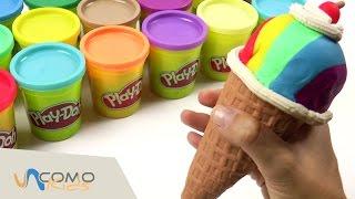 Cómo hacer un HELADO multicolor con Play-Doh - Comida con Play-Doh en español