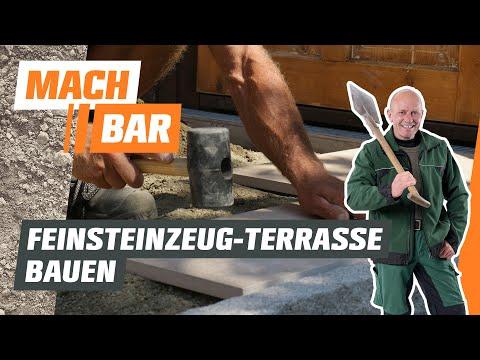 Feinsteinzeug-Terrasse bauen in gebundener Bauweise | OBI