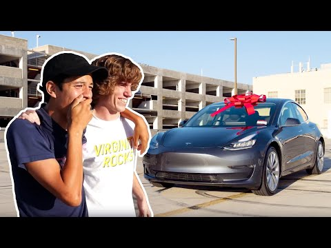 Download Surprising Best Friend with a New Tesla! HD Mp4 3GP Video and MP3