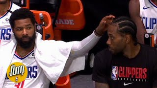 Marcus Morris was messing with Kawhi Leonard on the bench and Kawhi didn't appreciate it | The Jump
