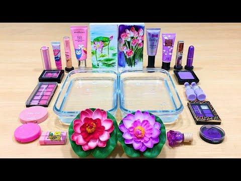 Purple vs Pink ! Flower - Mixing Makeup Eyeshadow into Clear Slime | Satisfying Slime Videos #592