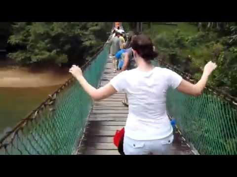 Shannon crossing a bridge in Belize (Royal Caribbean)