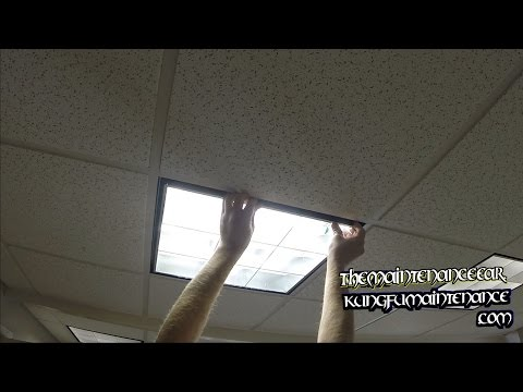 How To Replace Drop Ceiling U Shaped Fluorescent Office Lights Change Out Maintenance Repair Video