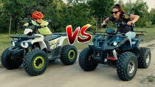Den vs Mom - Funny Race on kids Colored Quad Bike in the park!