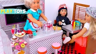 Baby Doll Kitchen toys - playing burger & ice cream shop pretend play for kids