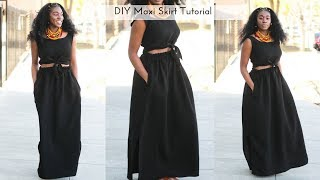 Easy DIY Side Slit Maxi Skirt With Pockets