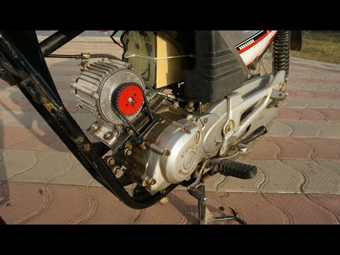 How Easy to convert a old petrol bike to electric Bike 50 km/h Using 750W Brushless Motor....