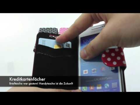Handytasche: Gepunktete Ledertasche Samsung Galaxy S4 Mini