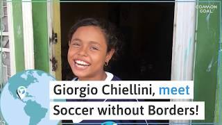 Los futbolistas y miembros de Common Goal Ana Cate y Giorgio Chiellini se unen a Futbol Sin Frontera