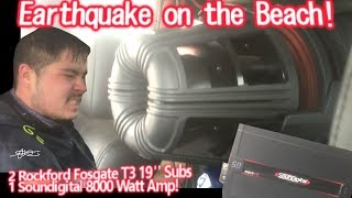 "Earthquake at the beach! CRAZY BASS! 2 GIGANTIC 19"" Subs Walled! Powered by 1 Soundigital 8000.1d"