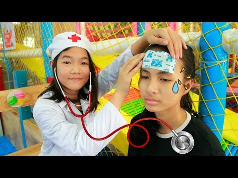 Kids Play Pretend Doctor Take Care Sister! Kids Pretend Play Cleaning Home Ball Song Children