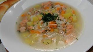 Простой суп из красной рыбы (горбуша, кета, кижуч)
