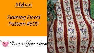 Flaming Floral Afghan #509 How To Do Tunisian Crochet With Cross Stitching