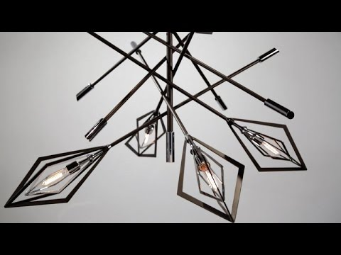 Video for Javelin Bronze and Polished Stainless Steel Six-Light Pendant