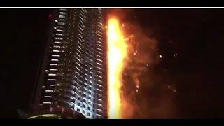 Горит небоскреб в Дубае на Новый год! Пожар  Address Downtown видео  31 12 15 Fire  Dubai