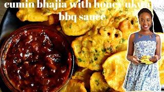 CUMIN BHAJIA WITH HONEY UKWAJU BBQ SAUCE   BHAJIA RECIPE   KALUHI'S KITCHEN