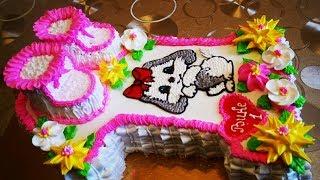 Торт для ДЕВОЧКИ 1 годик украшение тортов белково заварным кремом