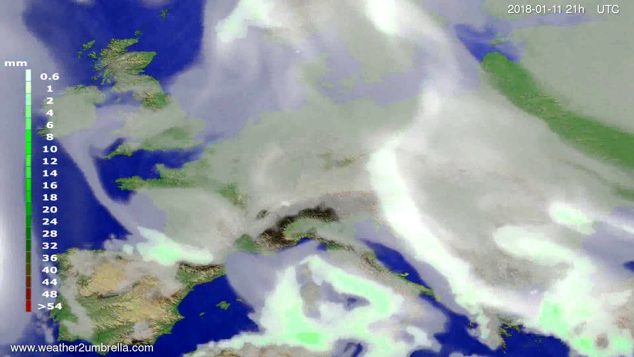 Precipitation forecast Europe 2018-01-08