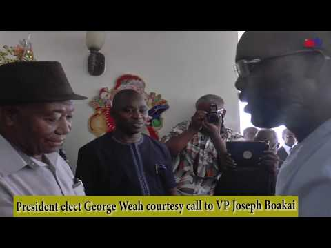 LIBERIA'S PRESIDENT ELECT GEORGE M. WEAH PAYS COURTESY TO VICE PRESIDENT JOSEPH N. BOAKAI