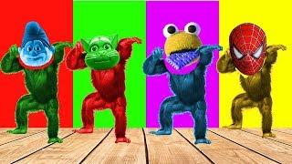 Talking Tom Smurfs Pop Cake Head Gorilla Finger Family Song Colors Learn