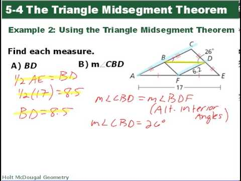 problem solving 5-4 the triangle midsegment theorem