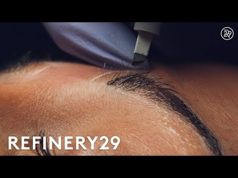 Microblading Permanent Eyebrow Tattoo Up Close | Macro Beauty | Refinery29