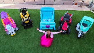 Emma Opens Car Dealership Pretend Play with Ride On Cars