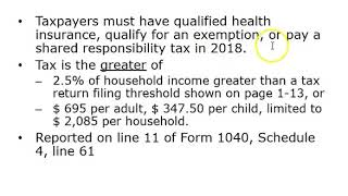 Chapter 1 Part 2: Components Of Form 1040, Calculation Of Tax, Shared Responsibility Payment