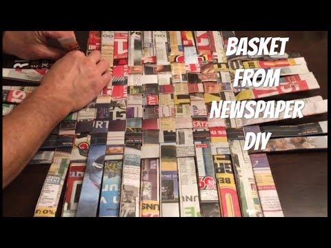 Korb aus Zeitungen machen - DIY - Korb flechten