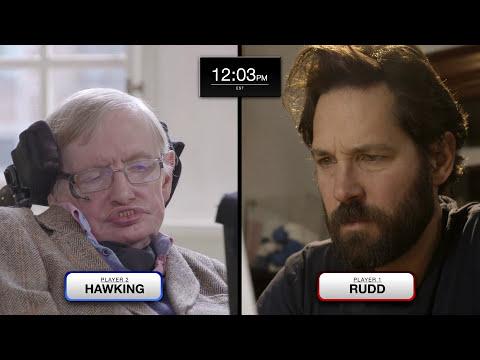 Stephen Hawking a Paul Rudd hrají kvantové šachy