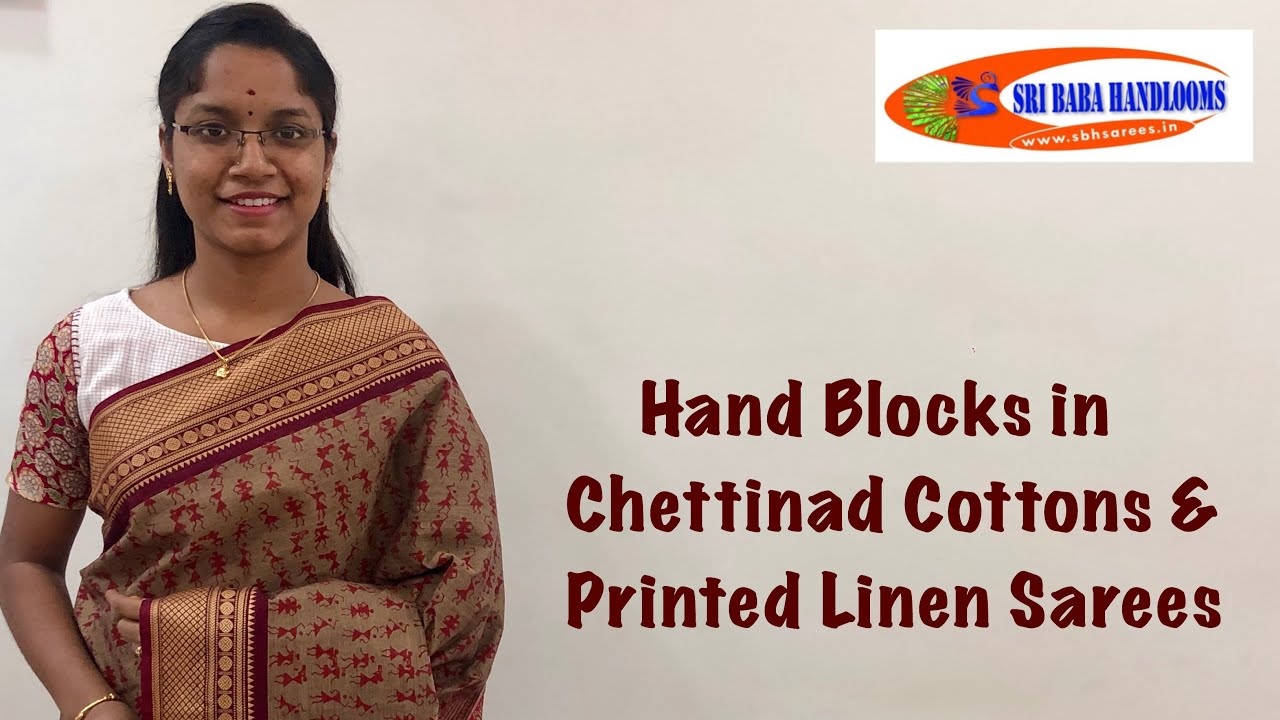 """<p style=""""color: red"""">Video : </p>Hand Blocks in Chettinad Cottons &amp; Printed Linen Sarees 2020-09-17"""