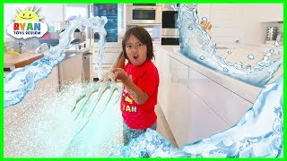 Ryan Pretend Play with Indoor Swimming Pool with Aquaman Trident!!! Ryan helps Aquaman saves the day and Ryan have fun playing in the indoor pool inside the house!!!