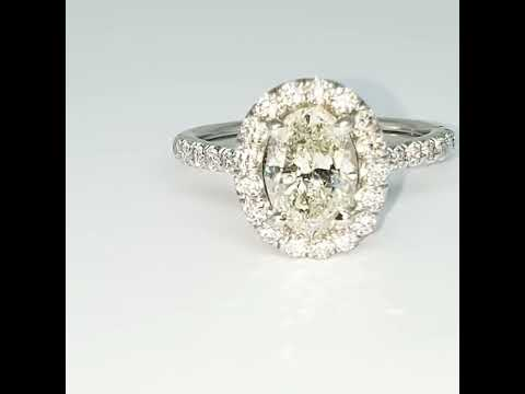 Engagement Ring 1.35ct OVAL Center Diamond with 0.50ct Diamonds in the Halo & Sides