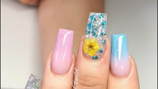 Acrylic Nails , Pretty Pink And Blue Nail Design