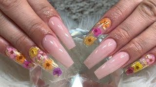 Encapsulated Flowers Nude Acrylic Nails