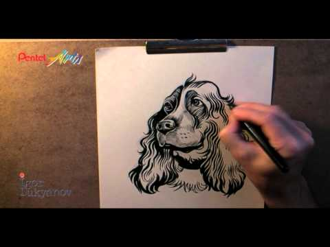 Drawing a Dog with a Pentel Pocket Brush Pen - Created by Igor Lukyanov